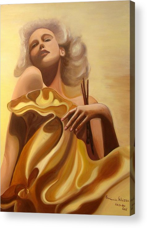 Figurative Acrylic Print featuring the painting The Beauty And The Elegance by Erminia Schirru