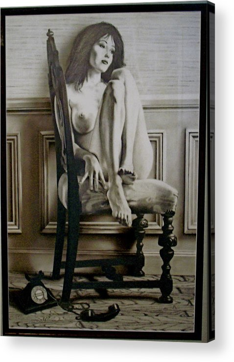 Women Acrylic Print featuring the drawing The Call by Brett Cremeens