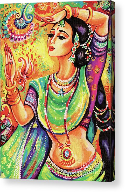 Indian Dancer Acrylic Print featuring the painting The Dance Of Tara by Eva Campbell