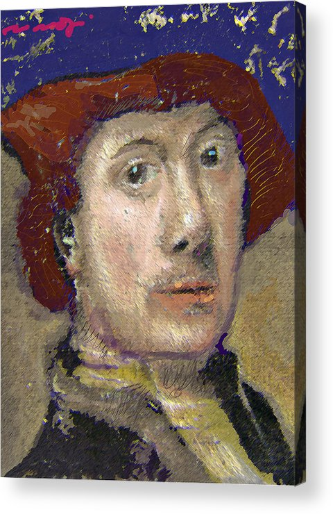 Portrait Acrylic Print featuring the painting The Historian by Noredin Morgan