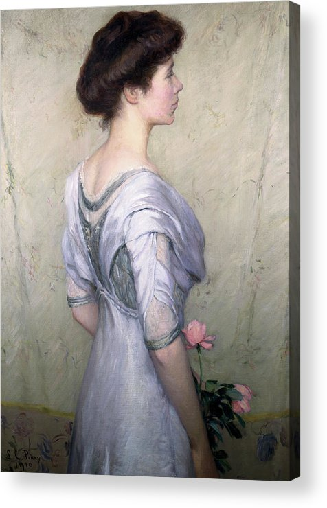 The Pink Rose Acrylic Print featuring the painting The Pink Rose by Lilla Cabot Perry