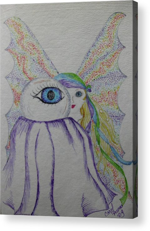 Fairy Acrylic Print featuring the drawing The Seer by Carol Frances Arthur