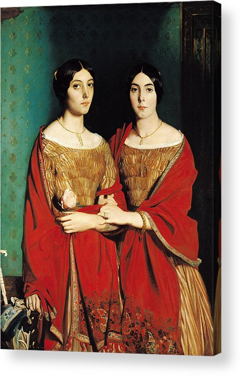The Acrylic Print featuring the painting The Two Sisters by Theodore Chasseriau