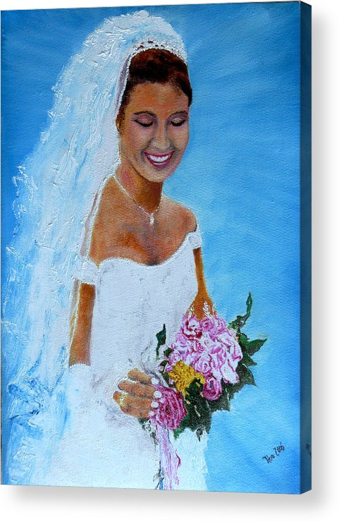 Wedding Acrylic Print featuring the painting the wedding day of my daughter Daniela by Helmut Rottler