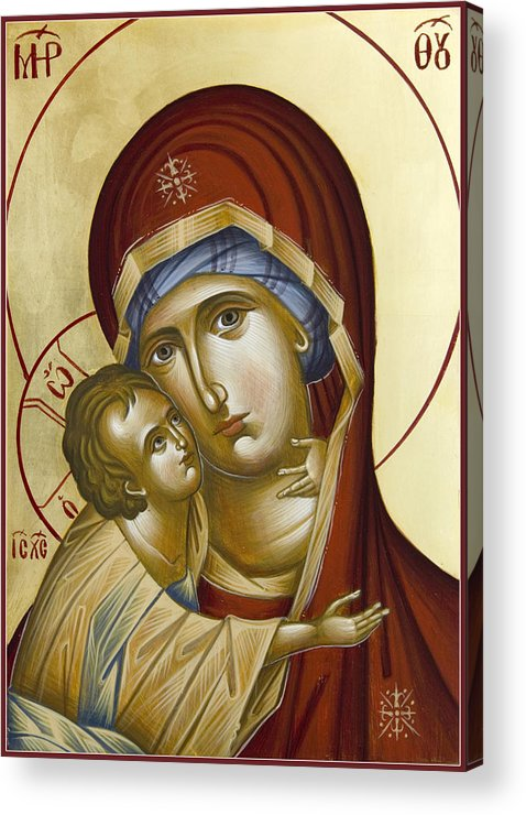 Icon Acrylic Print featuring the painting Theotokos by Julia Bridget Hayes