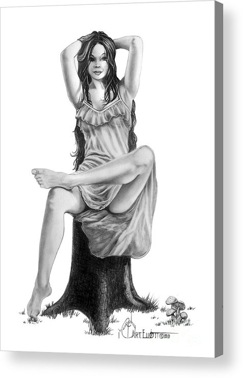 Figure Drawing Acrylic Print featuring the drawing Tree Nymph by Murphy Elliott