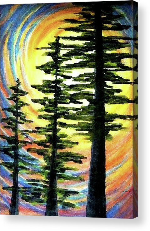 Cedars Acrylic Print featuring the painting Trinity by Pam Ellis