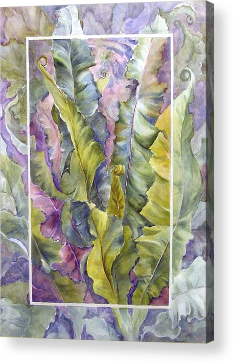 Ferns;floral; Acrylic Print featuring the painting Turns Of Ferns by Lois Mountz