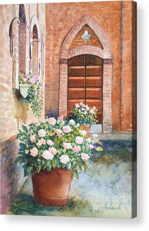 Tuscan Acrylic Print featuring the painting Tuscan Courtyard by Ann Cockerill