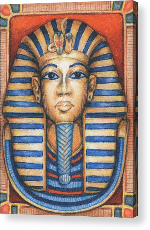 Atc Acrylic Print featuring the drawing Tut's Golden Mask by Amy S Turner