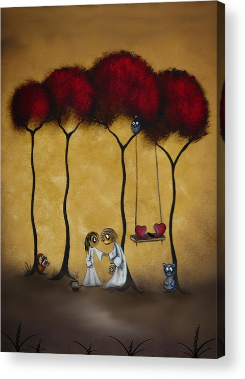 Whimsical Art Acrylic Print featuring the painting Two Hearts by Charlene Zatloukal