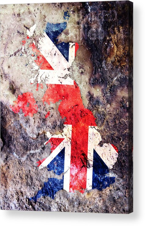 Uk Acrylic Print featuring the digital art Uk Flag Map by Michael Tompsett