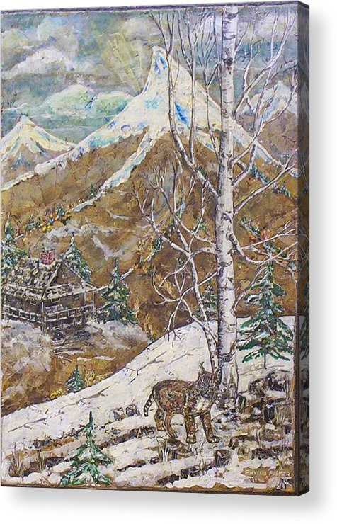 Snow Scene Acrylic Print featuring the painting Unexpected Guest I by Phyllis Mae Richardson Fisher