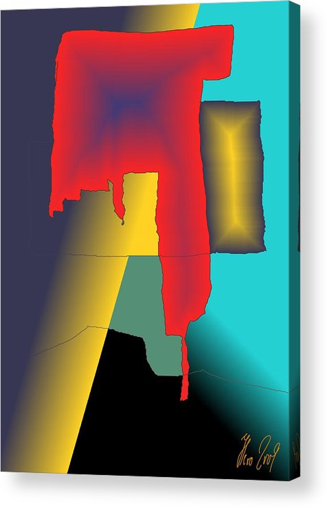 Red Acrylic Print featuring the digital art Unexpected- Red by Helmut Rottler