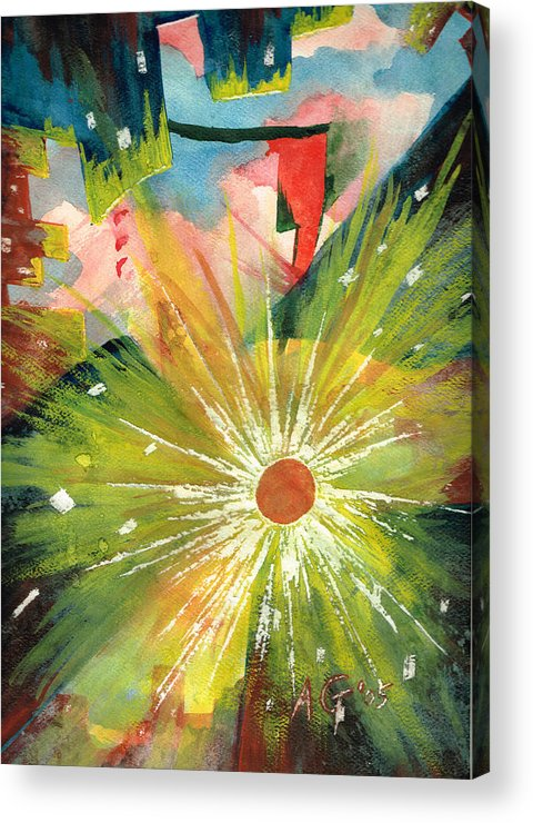 Downtown Acrylic Print featuring the painting Urban Sunburst by Andrew Gillette