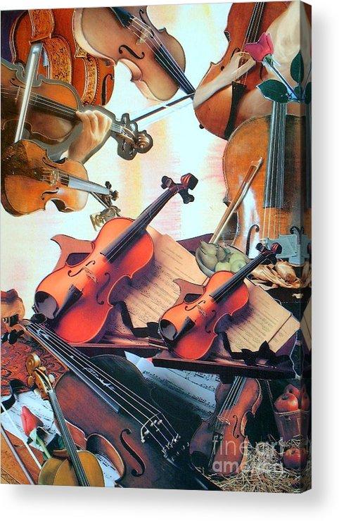 Music Acrylic Print featuring the mixed media Violin Concierto by Judith Espinoza