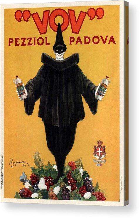 Vintage Acrylic Print featuring the mixed media Vov Pezziol - Italian Liquer - Padova, Italy - Vintage Advertising Poster by Studio Grafiikka