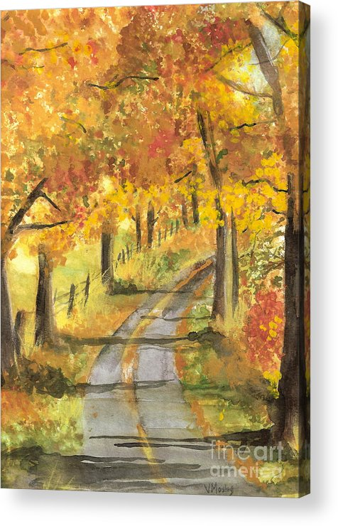 Fall Acrylic Print featuring the painting Walkin by Vivian Mosley