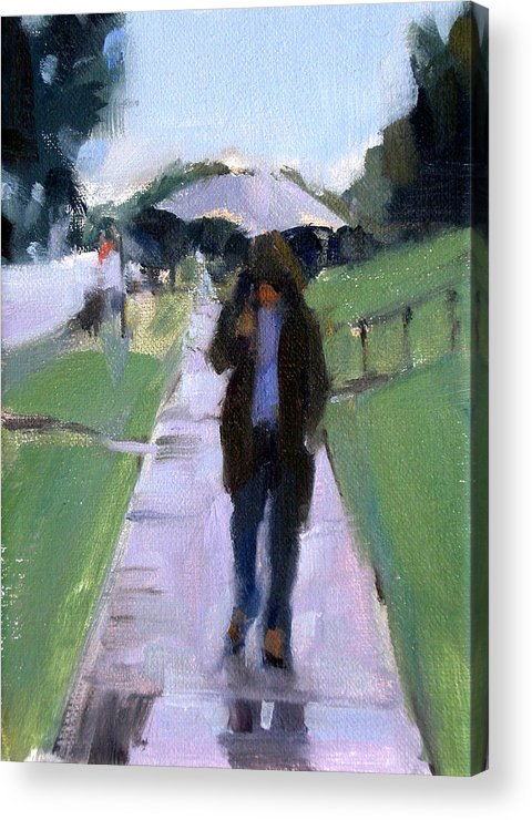 Figurative Acrylic Print featuring the painting Walking In The Rain by Merle Keller