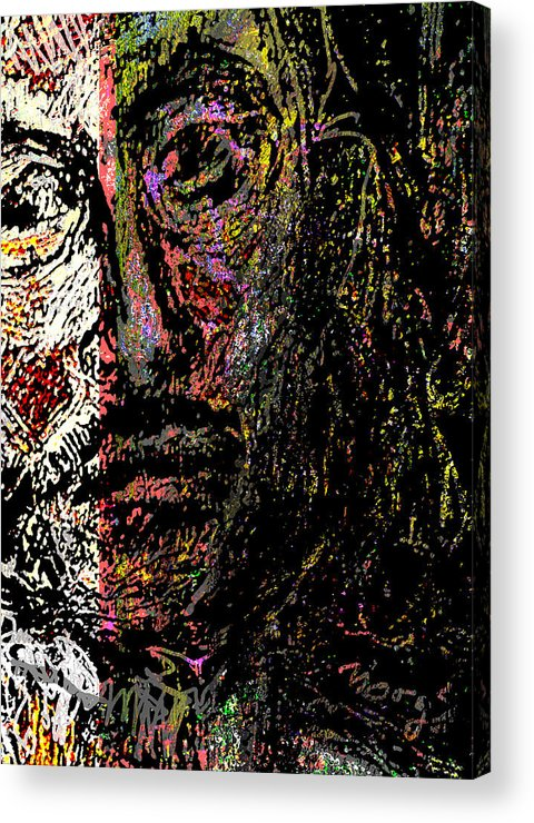 Self Portrait Acrylic Print featuring the painting Warrior Of Love by Noredin Morgan