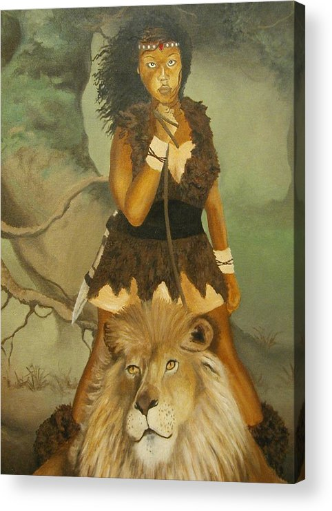 Portrait Acrylic Print featuring the painting Warrior Princess by Angelo Thomas