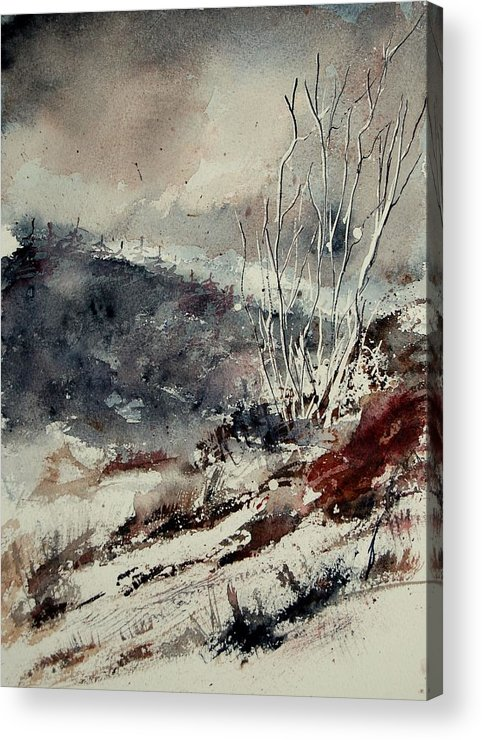 Snow Acrylic Print featuring the print Watercolor 446 by Pol Ledent