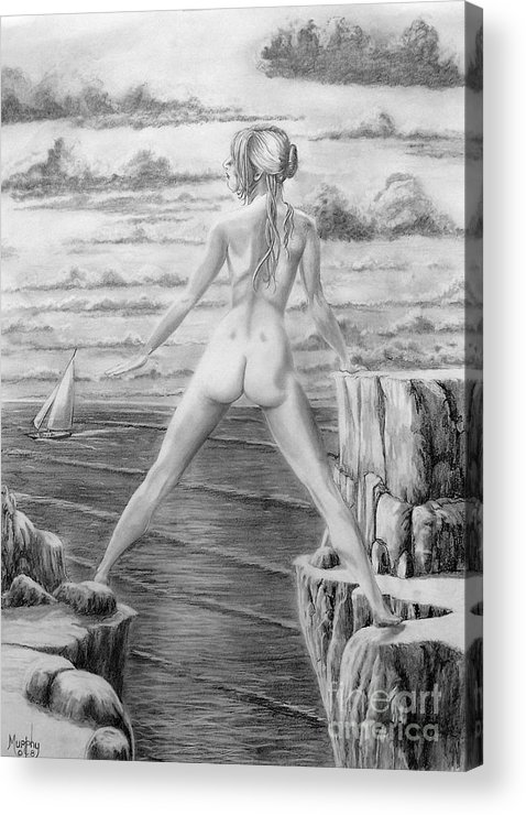 Nude Acrylic Print featuring the drawing Wendy From Memory. by Murphy Elliott