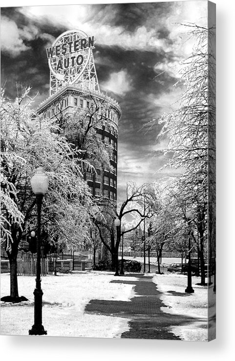Western Auto Kansas City Acrylic Print featuring the photograph Western Auto In Winter by Steve Karol