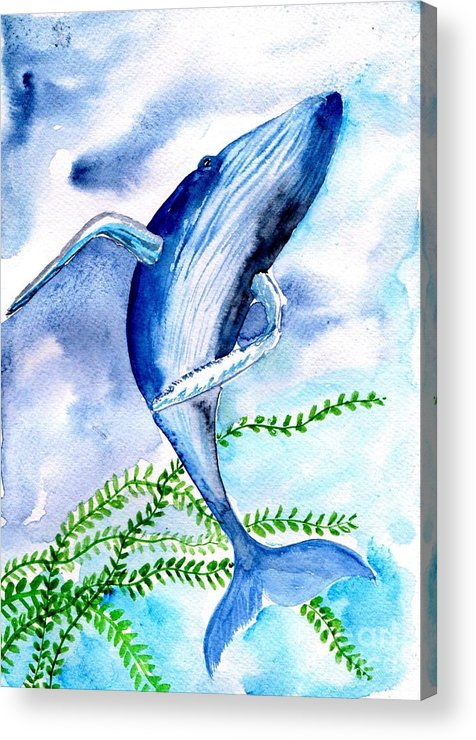 Humpback Whale Acrylic Print featuring the painting Whale 6 by Sweeping Girl