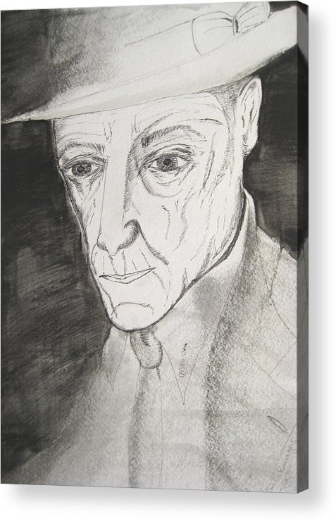 23 Author Black Burroughs Enigma Ink Man Music Painting Portrait Revolutionary Watercolor William Acrylic Print featuring the painting William S. Burroughs by Darkest Artist