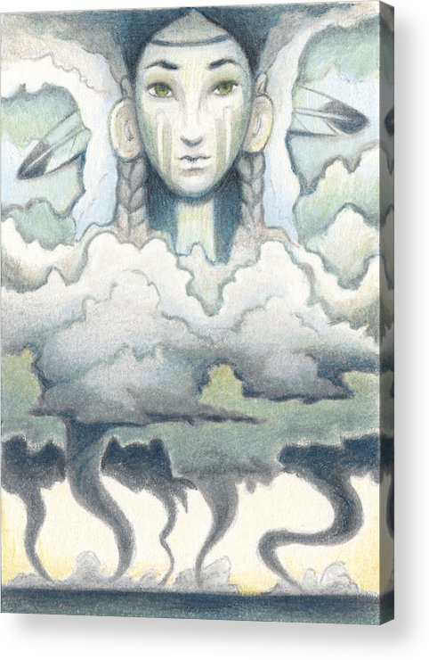 Atc Acrylic Print featuring the drawing Wind Spirit Dances by Amy S Turner