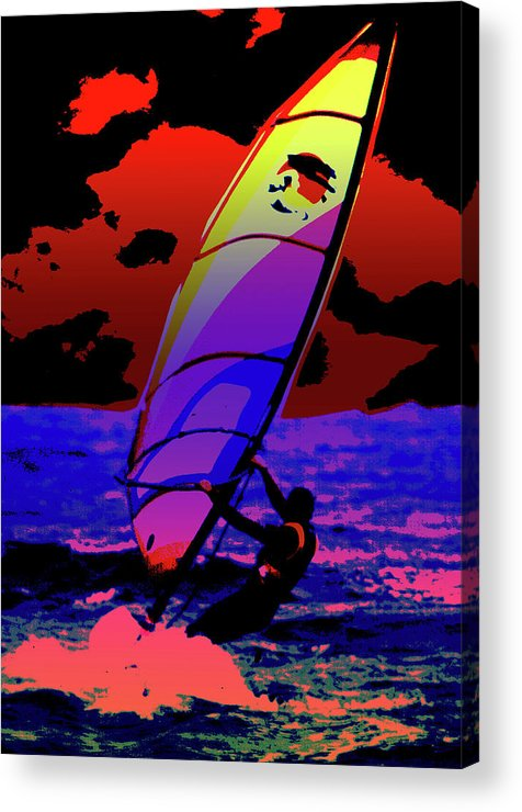 Abstract Acrylic Print featuring the mixed media Windsurfer by Brian Roscorla