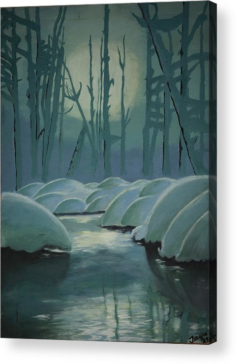 River Acrylic Print featuring the painting Winter Quiet by Jacqueline Athmann