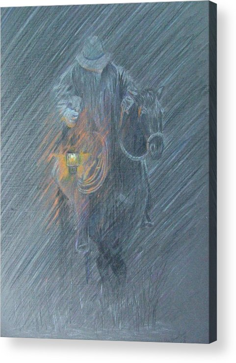 Horses Acrylic Print featuring the drawing Winter Search by Dan Hausel