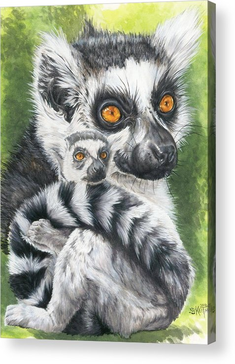 Lemur Acrylic Print featuring the mixed media Wistful by Barbara Keith