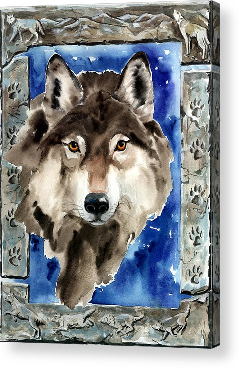 Wolf Acrylic Print featuring the painting Wolf by Nadi Spencer