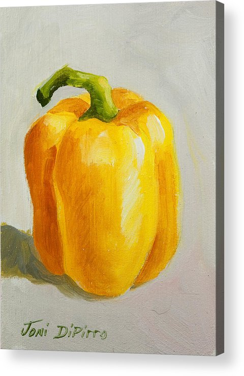 Red Acrylic Print featuring the painting Yellow Bell Pepper by Joni Dipirro