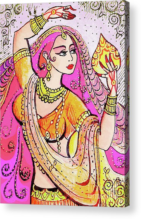 Indian Dancer Acrylic Print featuring the painting Yellow Devi by Eva Campbell