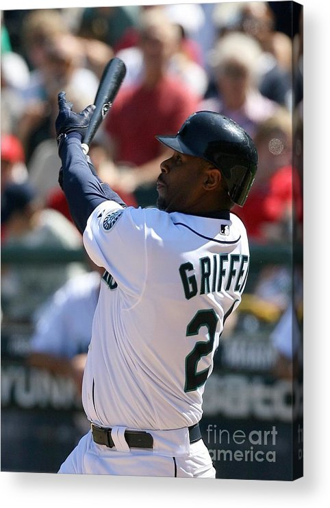 American League Baseball Acrylic Print featuring the photograph Ken Griffey Jr. Retires From Seattle 1 by Otto Greule Jr