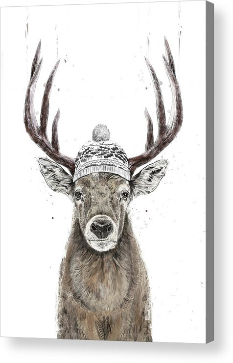 Deer Acrylic Print featuring the mixed media Let's Go Outside by Balazs Solti