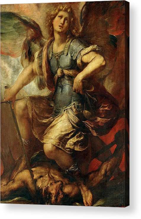 Giulio Cesare Procaccini Acrylic Print featuring the painting Saint Michael The Archangel by Giulio Cesare Procaccini
