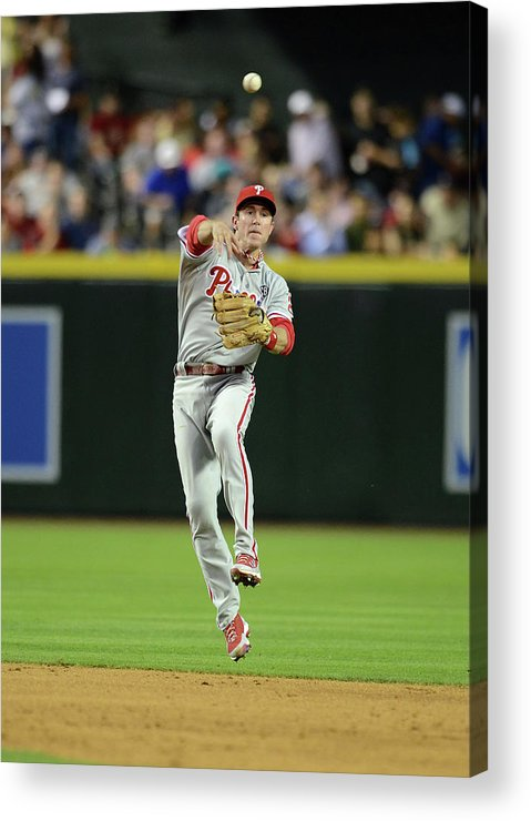 American League Baseball Acrylic Print featuring the photograph Chase Utley by Norm Hall