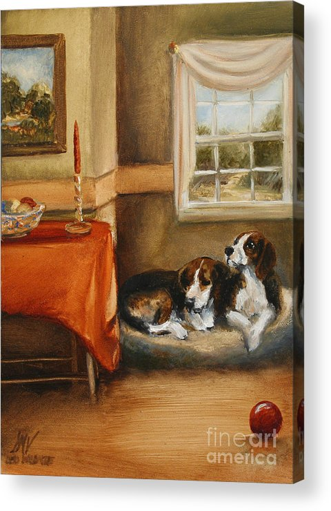 Beagle Acrylic Print featuring the painting Waiting For The Mistress by Stella Violano