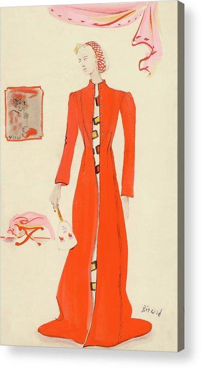Fashion Acrylic Print featuring the digital art A Model Wearing A Schiaparelli Military Red Coat by Christian Berard