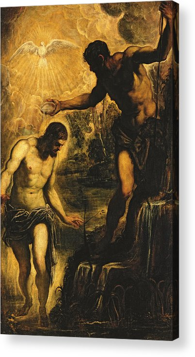 John The Baptist Acrylic Print featuring the painting The Baptism Of Christ by Jacopo Robusti Tintoretto