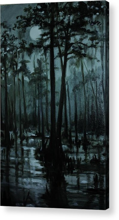 Moon Acrylic Print featuring the painting Cypress Moon by Jody Domingue