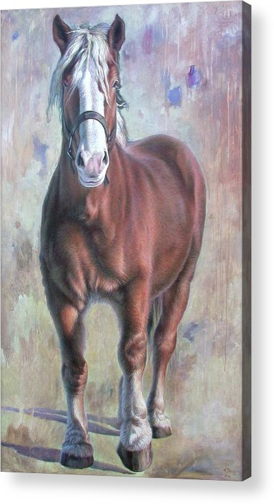 Horse Acrylic Print featuring the painting Arthur The Belgian Horse by Hans Droog