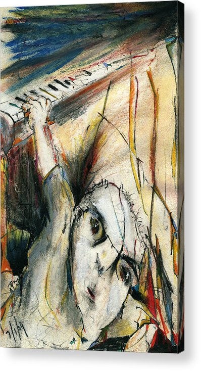 Music Acrylic Print featuring the drawing Falling by Tom Norton