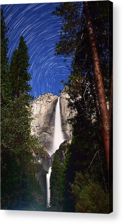 Yosemite Falls Acrylic Print featuring the photograph Star Trails At Yosemite Falls by Surjanto Suradji