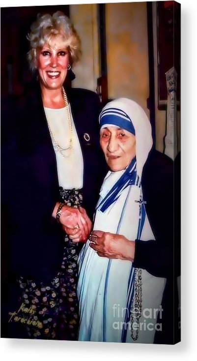 Mother Teresa Acrylic Print featuring the digital art A Vist With Mother Teresa by Kathy Tarochione